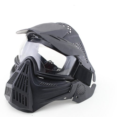 A&N Full Face Mask Airsoft Paintball Sports Protection with Goggles Attached Black