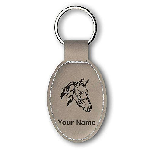 Oval Keychain, Horse Head 2, Personalized Engraving Included (Light Brown)