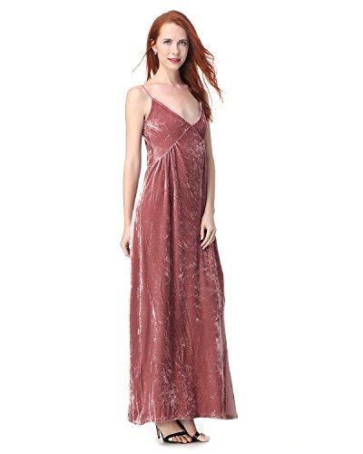 Velvet Camisole Dress (GAMISS Women's V-Neck Spaghetti Strap Velvet Dress Pleated Backless Camisole Split Maxi Dress(Pink,S))