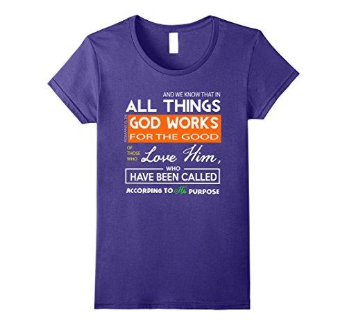 Womens Romans 8:28 Eight All Things T-Shirts God Small (Roman Female)