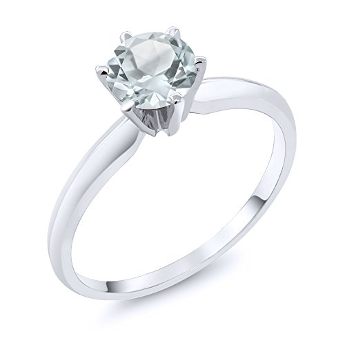 0.75 Ct Sky Blue Aquamarine 14K White Gold Engagement Solitaire Ring (Ring Size 6)