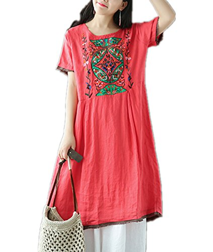 Women's Linen Caftan Ethnic Evening Dress (Red) - 2