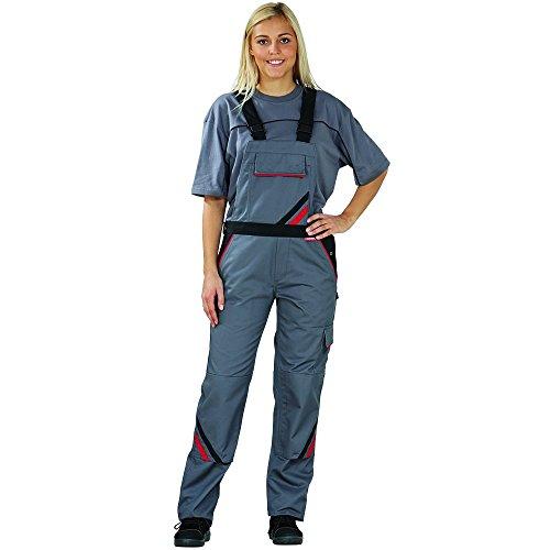 Planam Highline - Peto de trabajo para mujer, peto de color azul, negro o rojo - schiefer/schwarz/rot