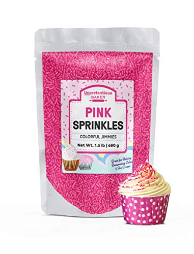 (Pink Sprinkles, 1.5 lb by Unpretentious Baker, Pink Jimmies, For Baby Showers, Bridal Showers, Birthday Parties, & More! Gluten-Free, Kosher, Clear Resealable Bag)