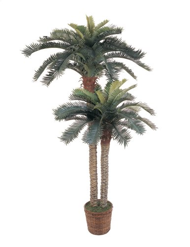 Nearly Natural 5033 Sago Palm Double Potted Silk Tree, 6-Feet and 4-Feet, Green by Nearly Natural