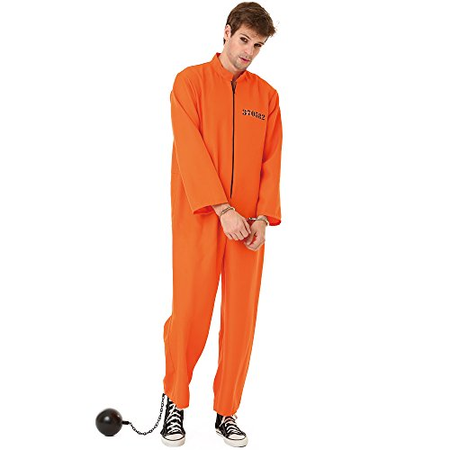 Conniving Convict Men's Halloween Costume Jailbird Orange Black Prison Jumpsuit, Orange, Large -