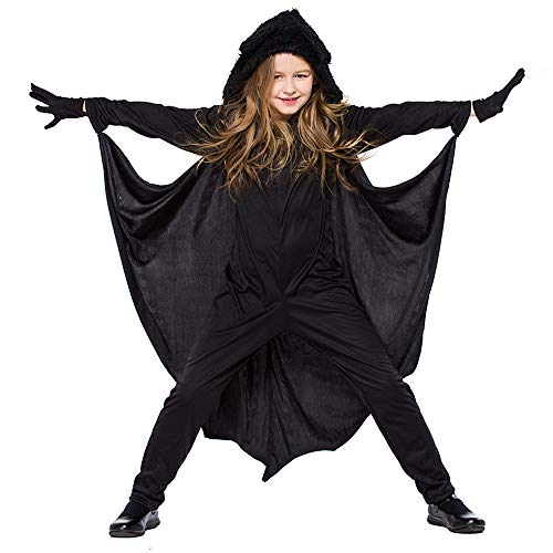 MEANIT Halloween Women's Cosplay Costume, Women Bat Cloak Coat Black]()