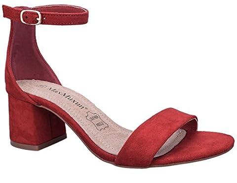 MaxMuxun Women Shoes Faux Suede Low Block Heels Ankle Strap
