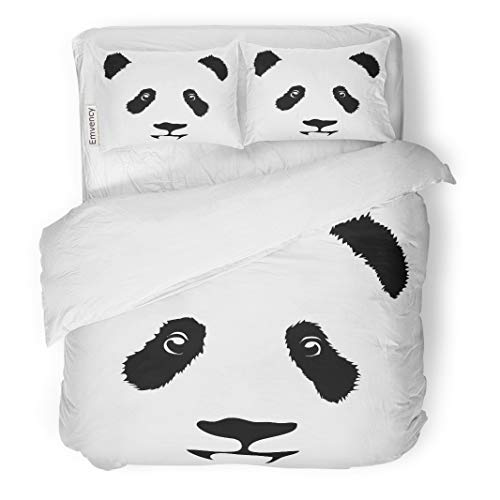 Semtomn Decor Duvet Cover Set King Size Bear Panda Animal Cartoon China Bamboo Head Child Toy 3 Piece Brushed Microfiber Fabric Print Bedding Set -