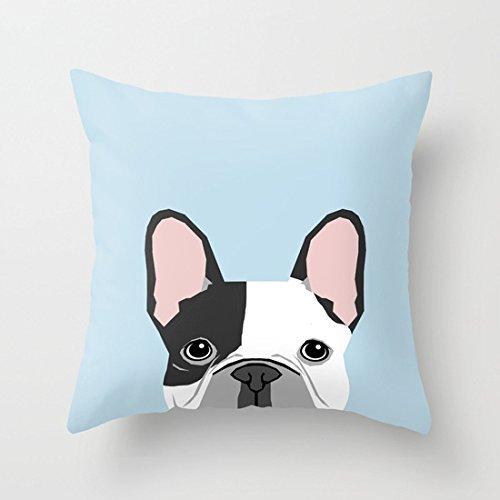 Bulldog francés, Retrato de Arte - Aqua Light Blue Cute Dog ...