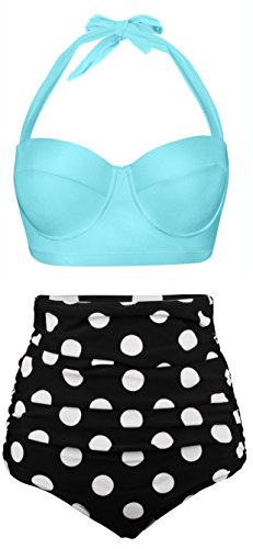 Aixy Women Vintage Swimsuits Bikinis Bathing Suits Retro High Waisted Polka - Retro Colors 13