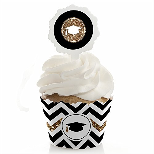 Graduation Wrapper (Gold Tassel Worth The Hassle - Graduation Cupcake Wrapper & Pick Party Kit - Set of 24)