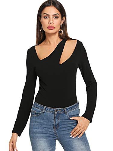 MakeMeChic Womens Long Sleeve Asymmetrical Neck Slim Fit Tee Shirt Tops
