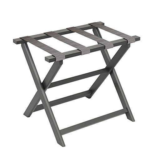 Fine Folding Furniture Gate House Furniture Dark Grey Eco-Poly Folding Luggage Rack with 4 Driftwood Weave Straps