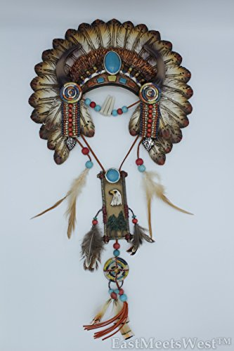 (Southwestern Native American Turquoise Aztec Feathers Head Band Hanging Wall Plague Rustic Hand Painted Decoration)