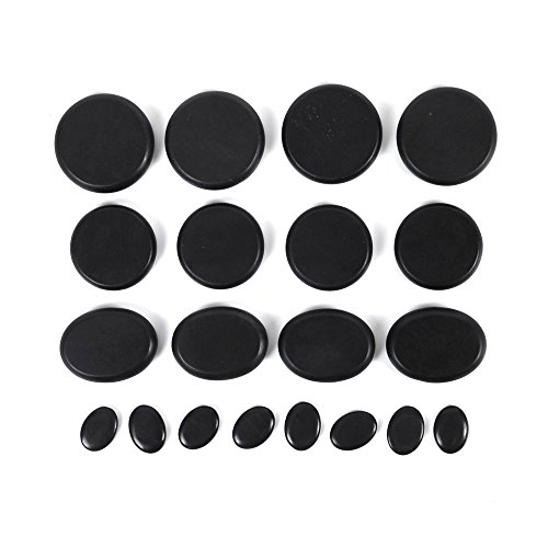 Aboval 20Pcs Professional Massage Stones Set Natural Lava Basalt Hot Stone for Spa, Massage Therapy by Aboval (Image #2)