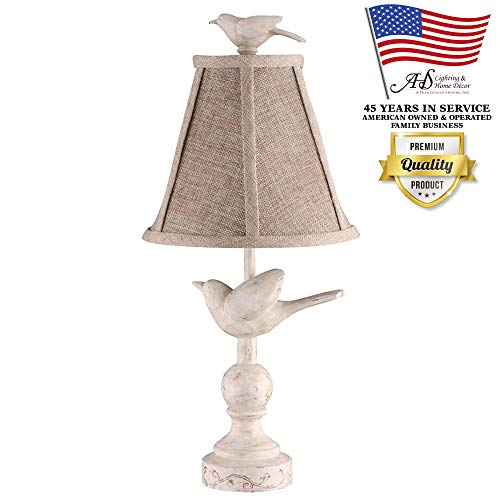 AHS Lighting L1659-UP1 Fly Away Decorative Accent Table Lamp Natural Ivory Cream Polyresin Perfect for bookshelf, kitchens, desks, cabin cottage style homes Beige