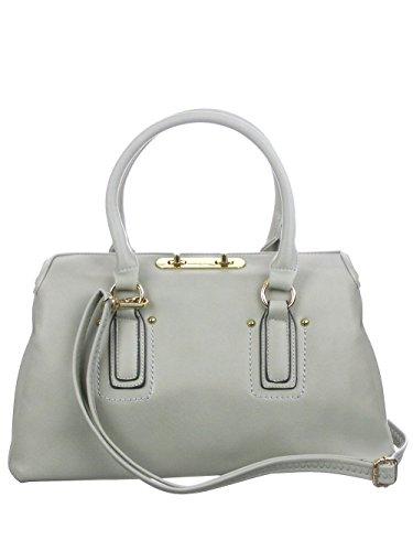 d'Orcia Charlotte Folding Top Grey Satchel Handbag