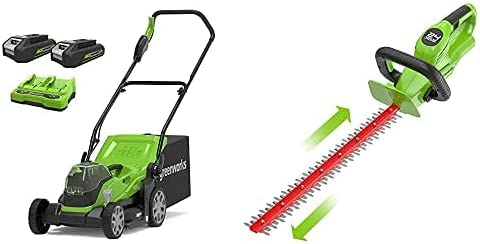 Greenworks Tools Cortacésped con batería G24X2LM36K2x, Li-Ion 24VX2 36 cm Ancho Corte + Cortasetos Inalámbrico G24HT56, Li-Ion 24V 56 cm Longitud de la Espada, 18 mm Espesor de Corte 3000 Cortes/min