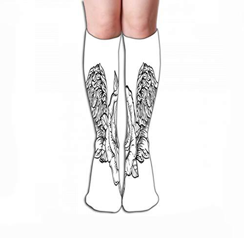 Xunulyn Men Women Outdoor Sports High Socks Stocking Rose Flower Angel Bird Wings Blackwork Flash vi Vintage Highly Detailed Isolated White Tile Length 19.7
