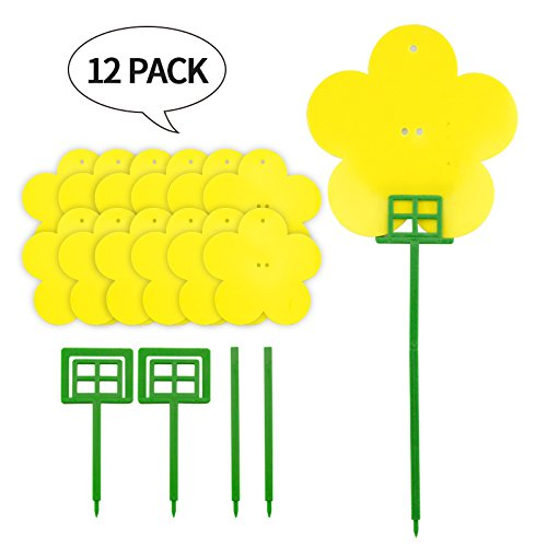 Jie Ken 12 Pack Double-Side Plant Flycatchers, Dual-Sided Yellow Sticky Traps for Flying Pests Like Fungus Gnats, Aphids, Whiteflies, Leafminers & Black Fungus Gnats
