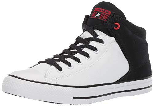 (Converse Men's Unisex Chuck Taylor All Star Street High Top Sneaker White/Black/Enamel Red 10 M US)