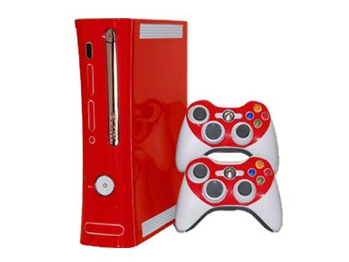Microsoft Xbox 360 Skin (1st Gen) - NEW - ROCKIN RED system skins faceplate decal mod (Console Xbox 360 Gen 1st Skins)