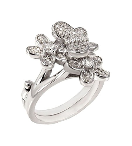 Hinged 1 or 2 Finger ring Butterfly Flower designer 18 mm Wide Brilliant cut 925 Silver Brilliant Cut Butterfly Ring
