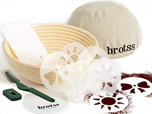 15 items Banneton Proofing Basket Set - 10 Artisan Stencils, Bread Lame, Cloth Liner Linen, Bowl Scraper for Bakers/Sourdough Recipe, Brotform Rising Making Round Baked Crispy Dough Crust Boules Loaf