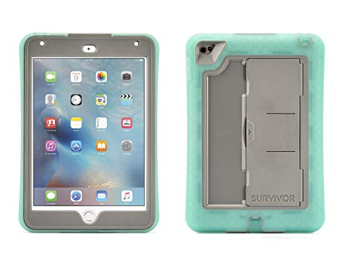 Griffin iPad Mini 4 Case with Built-in Stand, Green and Grey Survivor Slim, [Slim] [Protective] [Shock Absorption] [Built-in Screen Protection] [Polycarbonate] [Silicone]