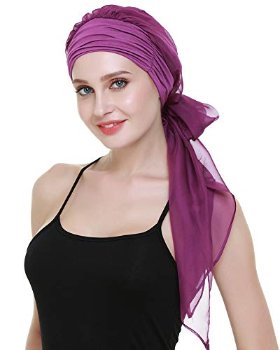 Cancer HeadCovers for Women Pre Tied Headwrap Chemo Patient Turbans Scarves Gift Dark - Turban Headcover