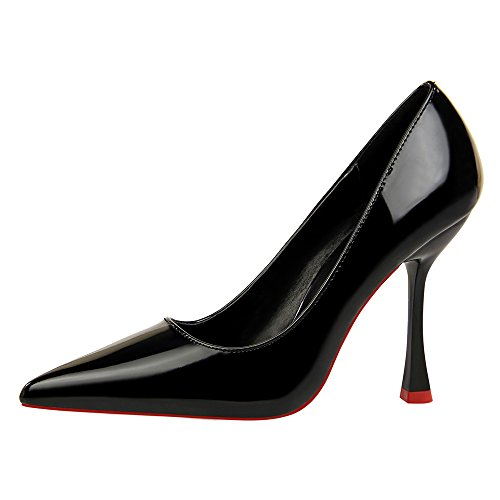 Fashion American Flache and High XIAOQI Sexy Style Schwarz Heels Simple Lack Heels New Spitze High European Shoes Leder Thin SEIq5B
