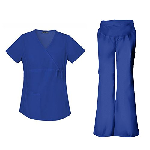 International Outfits - Cherokee Flexibles Women's Maternity 2892 Top & 2092 Pant Medical Uniform Scrub Set (Galaxy Blue - Large)