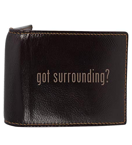 #surrounding - Genuine Engraved Hashtag Soft Cowhide Bifold Leather Wallet