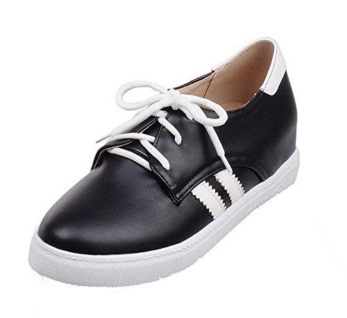 Gmxdb006651 Negro Agoolar Redonda Tacón Puntera Zapatos Bajo Mujeres Microfibra Tacón De xaqUxw4Fz