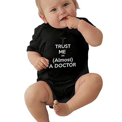 Nutmix Baby's Trust Me, I'm Nearly A Doctor, Medicine Student Comfortable Body Suit Black 0-3M