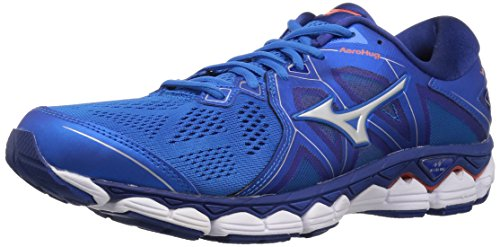 (Mizuno Men's Wave Sky 2 Running Shoe Directoire Blue/Cherry Tomato, 12.5 D US)