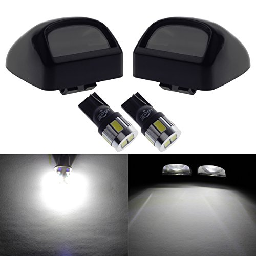 HERCOO License Plate Light Lamp Lens w/ LED Bulbs Aftermarket Replacement for Silverado Sierra GMC Chevy Pickup (Qty:2, Bright White) -