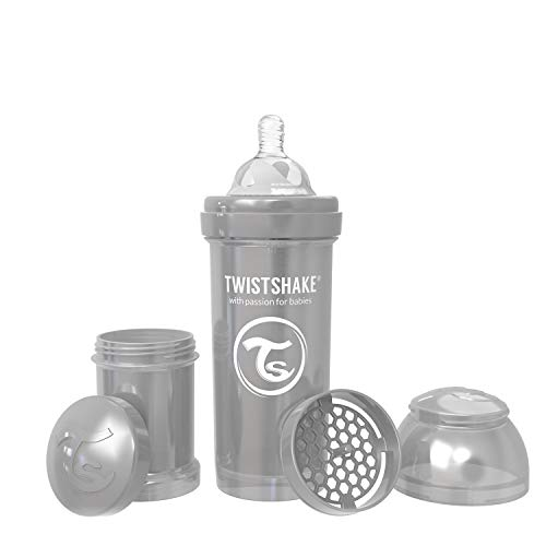 - Twistshake Anti-Colic Bottles for Baby Care, Bottle Food Products (260ml/8oz) (Pearl Grey)