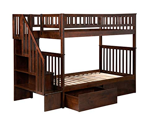 Woodland Stair Bunk Bed with 2 Drawers in Walnut-Twin Over T