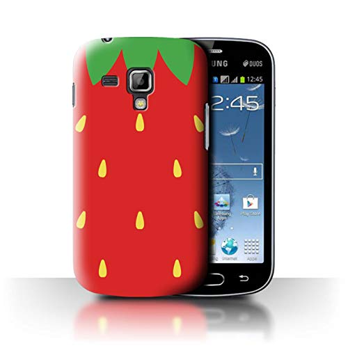 Phone Case for Samsung Galaxy S Duos 2/S7582 Fruit Trend Summer Cartoon Sweet Strawberry Design Transparent Clear Ultra Slim Thin Hard Back Cover