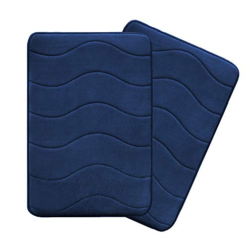 Flamingo P Microfiber Memory Foam Fieldcrest Luxury Bath Rugs Ultra Soft Floor Mats Tufted Bath Rug Non-Slip Backing Microfiber Door Mat, 17-Inch by 24-Inch, Navy Waved Pattern, Two Pieces (Blue Bath Memory Rug Foam)