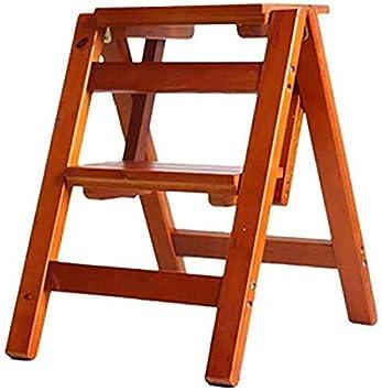 TZ Taburete de madera de 2 peldaños, silla plegable con escalera ...