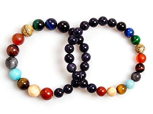 Couples Bracelets,Handmade Galaxy Solar System Bracelet Universe Eight Planets Star Stone Beads Distance Bracelets(8mm+10mm)