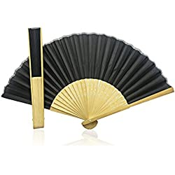 10 x Black Fabric Hand Held Bamboo and Wooden Fan - Wedding Party Prop