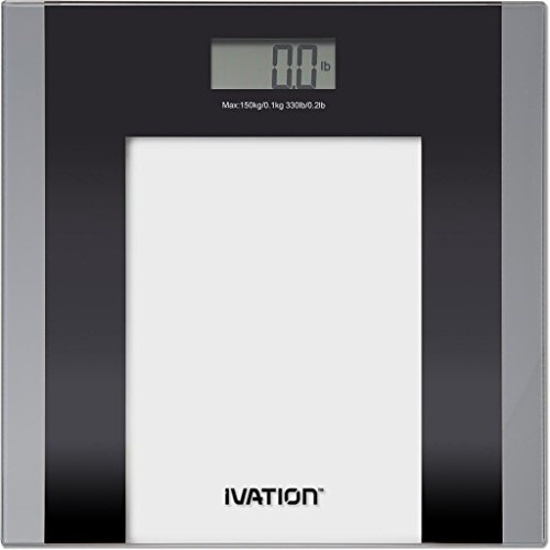 Digital Bathroom/Body Weight Scale ''Step-On'' Technology w/ Extra Large LCD Display High Accuracy, Ultra-Thin Tempered Glass, 330-Pound Load Capacity, Silver by Ivation