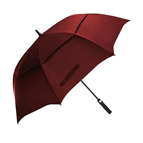 Golf Umbrella 62 Inch Large Oversize Windproof Waterproof Automatic Open Rain & Wind Resistant Vented Double Canopy Stick Umbrellas For Men and Women (Burgundy) (Nylon Golf Umbrella)
