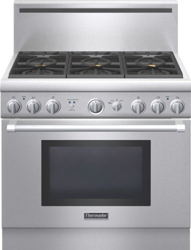 Pro Style Convection Gas Range (Thermador Pro Harmony : PRG366GH 36 Pro-Style Gas Range with 5.0 cu. ft. Convection Oven)