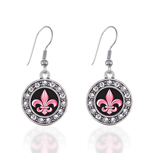 (Inspired Silver - Fleur De Lis Charm Earrings for Women - Silver Circle Charm French Hook Drop Earrings with Cubic Zirconia Jewelry)