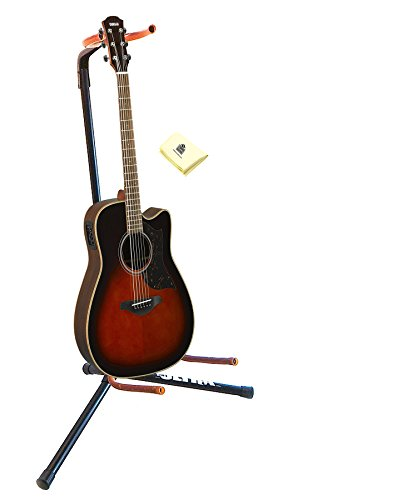 Rosewood Guitar Stand - Yamaha A-Series A1R TBS 6-string Dreadnought Cutaway Rosewood Acoutic Electric Guitar in Tobacco Sunburst with Guitar Stand and Zorro Sounds Guitar Polish Cloth
